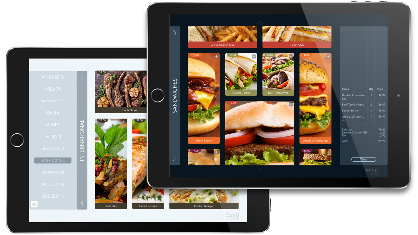 Menu Maker | restaurants eMenu app - digital food menu for iPad, iOS tablet designer creator electronic imenu brochure album catalog cafe bakery menupad POS eMenu app Menu Maker dark and bright